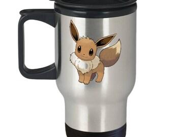 EEVEE Cutie Pie Pokemon Fan Favorite on Insulated Stainless Steel Travel Coffee Mug With Lid