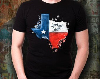 TEXAS WATERCOLOR Black Unisex Tshirt Texas Strong Lone Star State Pride Native Texan Tee Austin Houston Dallas Frisco Plano Wearable Tee!