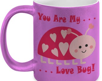 Love Bug Adorable Hearts Pink Metallic 11oz Coffee Cup Gift Mother's Day Valentine Birthday Anniversary