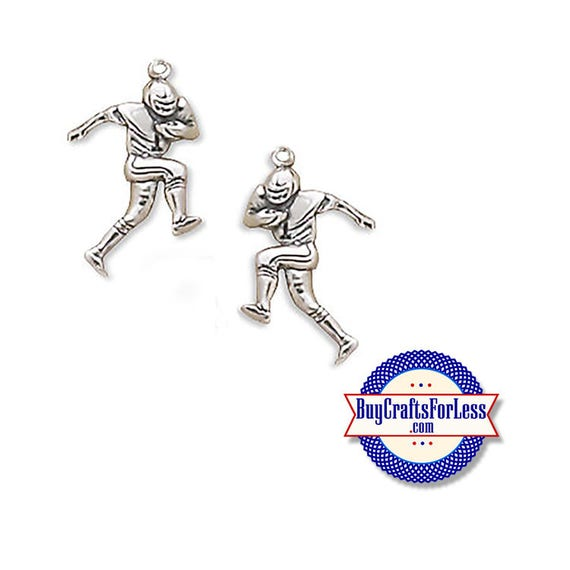 Football PLAYER Charms, Silver or Gold, 6, 12 or 25 pcs  +FREE Shipping & Discounts*