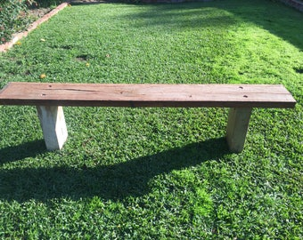Rustic outdoor wooden bench