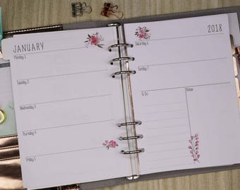A5 Weekly Plannner Inserts-Pink Floral. Will fit large Kikki-K or Filofax. Week on two pages (WO2P)