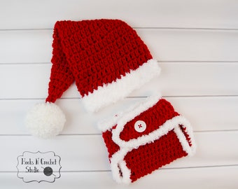 newborn Christmas outfit, baby Christmas outfit, newborn crochet hat, newborn Santa hat, newborn santa outfit, baby santa outfit
