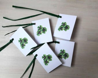 5 handmade tags - clover leaves