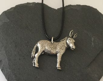 English Pewter donkey necklace / donkey jewellery / donkey lover gift / animal necklace / animal jewellery / animal lover gift
