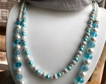 Melting ice blue and ivory pearls and glass double necklace