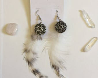 Feather Button Earrings