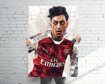 Mesut Özil Arsenal - Sports Art Print Poster - Abstract Paint Splash - Kids Decor - Gifts for Men - Man Cave