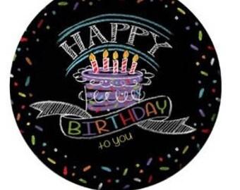 "8Ct 9"" Chalkboard Happy Birthday Paper Plates, Paper Plates, Birthday Party, Rustic, Party Supplies, Party Decoration, Party, Birthday Decor"