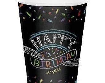 8Ct 9oz Chalkboard Happy Birthday Cups, Cups, Birthday party, Birthday decor, Birthday tableware, Chalkboard, Paper Cups, Party Supply