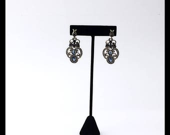 Victorian Style Earrings Blue Sapphire with Gold and  Clear Crystals Vintage Style Earrings