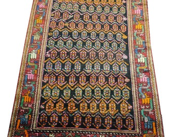 Handmade Persian rug made 1970s hands size 184cmx127cm.