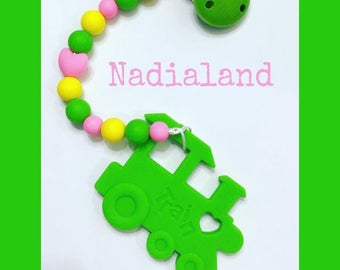 Silicone chain with teething toy in the shape of a train/silicone beads food Clip in wood/silicone Teether