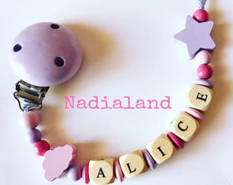 Pacifier holder with baby name/ Baby girl/ Natural wood/ Dummy clip/ Handmade/ Beaded pacifier clip/ Personalized pacifier holder/ Baby gift