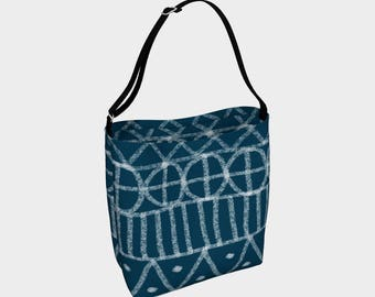 Indigo Batik Tote Bag, Book Tote, Grocery Bag, Tote Bag, Printed Tote Bag inside and out, Customized Strap