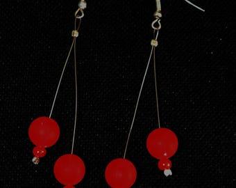 Neon red beads earrings