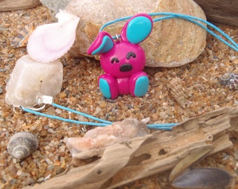 Fimo pattern rabbit Fuchsia and turquoise necklace