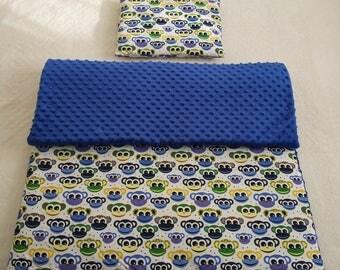 Handmade minky blanket with pillow, blue, funny monkeys!