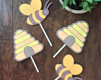 Bumble Bee Cupcake Toppers, Bee Birthday, Bumble Bee Baby Shower Decorations,  Bumble Bee