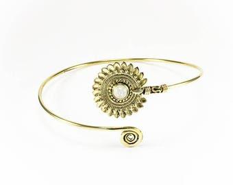 Brass arm band Sun Moon stone