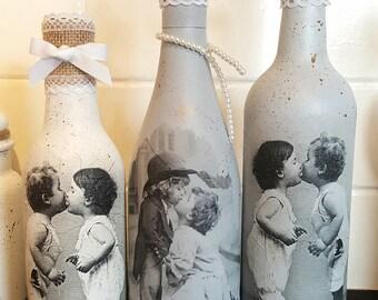 One Decoupage vintage wine bottle