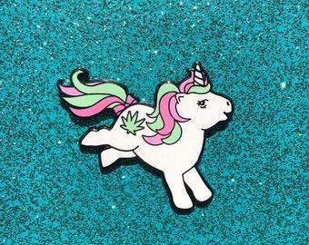 My Little Stoney Enamel Pin / My Little Pony G1 / Unicorn Lapel Pin / 420 Hat Pin / My Little Pony Pin / Weed Hard Enamel Pin / MLP Pin