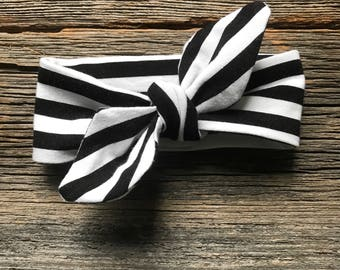 Baby Headband, *** BLACK & WHITE STRIPES ***, Knotted Headband,  Stripes Headband, Knot Headband, Stretchy Headband