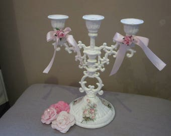 """Candlestick shabby chic """"old roses"""""""