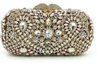 Belly  Gold crystal clutch, Evening bag, Evening purse, Evening clutch, women's clutch, bridal clutch, crystal clutch, clutches,