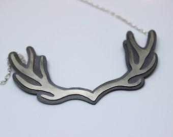 Sterling Silver Antler Necklace, Silver antler pendant, Deer Pendant, deer necklace, stag necklace, stag pendant, silver antler, stag, deer