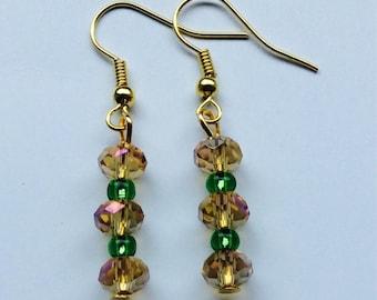 Handmade earrings, dangle earrings, gold coloured earrings, drop earrings, beaded earrings, gold plated