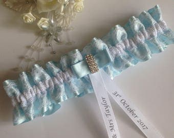 Personalised wedding garter - Sky Blue Satin, available in S/M and plus/large sizes