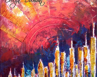 "Canvas ""City 2"" - multicolor abstract City - Contemporary Art - Abstract Art - Street Art"