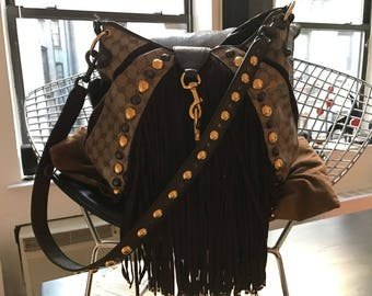 Extra large authentic Gucci babouska bag with fringe