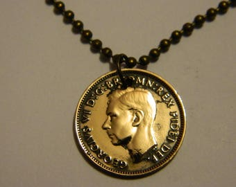 Vintage 1950 Great Britain Farthing Coin Pendant & Chain Necklace Bird - Wren #60