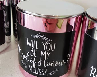 Handmade 'Will you be my Maid of Honour? Personalised Candle