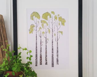 Grove. Print of my original paper cut and collage art work, using old maps.