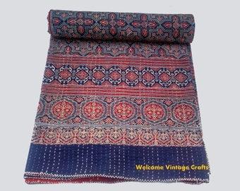 Queen Size Indigo block print Kantha Quilt Handblock kantha King Size Quilt Cotton Blanket Kantha Throw Bedcover Bedsheet blanket Quilt