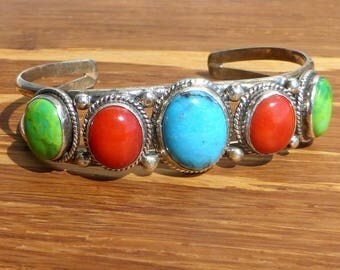 Navajo Sterling Silver, Turquoise and Coral Cuff Bracelet