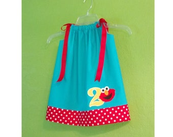Elmo Dress Outfit// Birthday Outfit // Elmo Birthday // Toddler Dress // Birthday Party // Turquoise Blue and Red with White Polka Dots