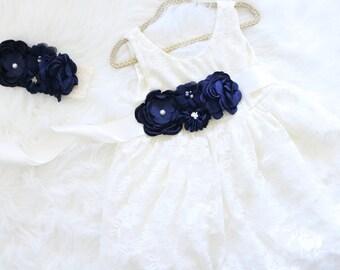 Navy Flower Girl Dress, Lace Flower Girl Dress, Shabby Chic Girls Dress, Rustic Flower Girl Dress, Embellished Dress, Country