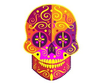 Skull Devil icon with ornament details,