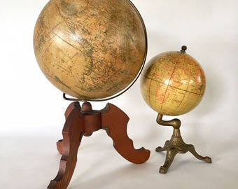 Rare Terrestrial Globe by H. Schedler Dated 1890 / Early American Masterpiece / Antique World Globe / Vintage Globe