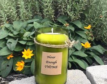 10 oz , All natural beeswax/palm oil candle with the scent of Thyme made from a wine bottle