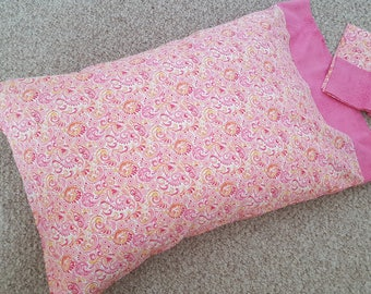 Pink, Yellow, Peach and White Pillowcase, Cotton, Generous Size - Fits Standard and Queen Pillows