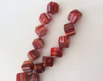 10 Pearl Square 10 mm red glass & other color mix