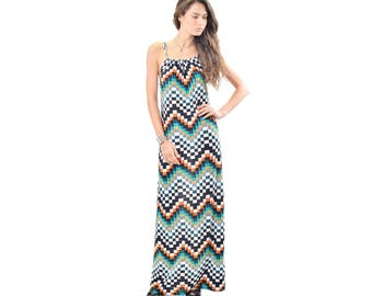 Zigzag Print Maxi Dress, Missoni Inspired Maxi Dress, Printed Maxi Dress, Sleeveless Maxi Dress, S M Made in USA