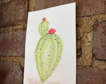 Prickly Pear Cactus Watercolor Painting