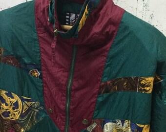 SALE 25% Vintage 90s Baroque Jacket Windbreaker Bomber Hip Hop Size L