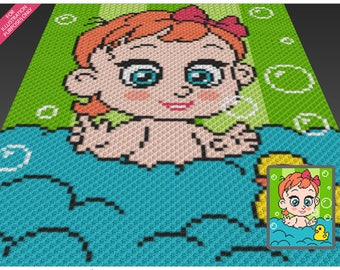 Bath Time Girl crochet blanket pattern; c2c, cross stitch; graph; pdf download; no written counts or row-by-row instructions
